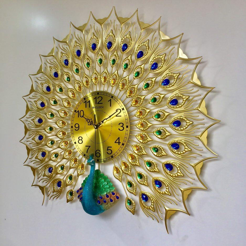 Đồng hồ treo tường con công hiện đại hàng Việt Nam chất lượng cao trang trí phòng khách kích thước 70x75cm