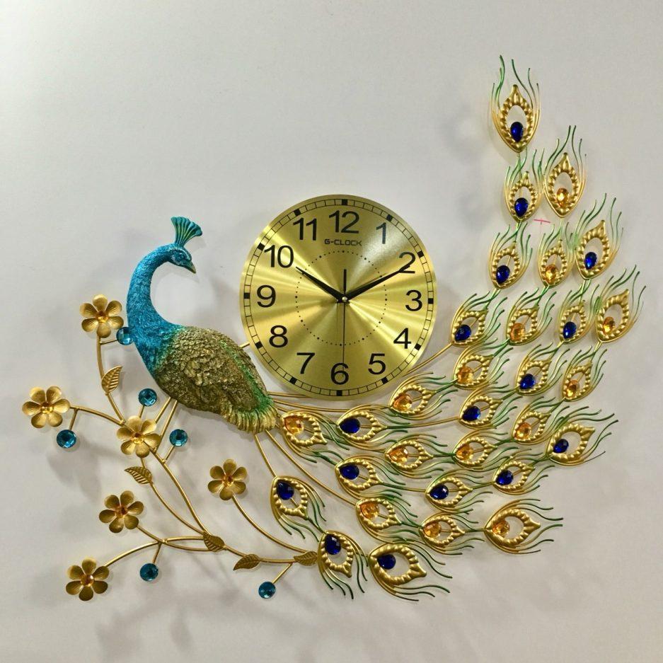 Đồng hồ treo tường con công hiện đại hàng Việt Nam chất lượng cao trang trí phòng khách kích thước 75x75cm