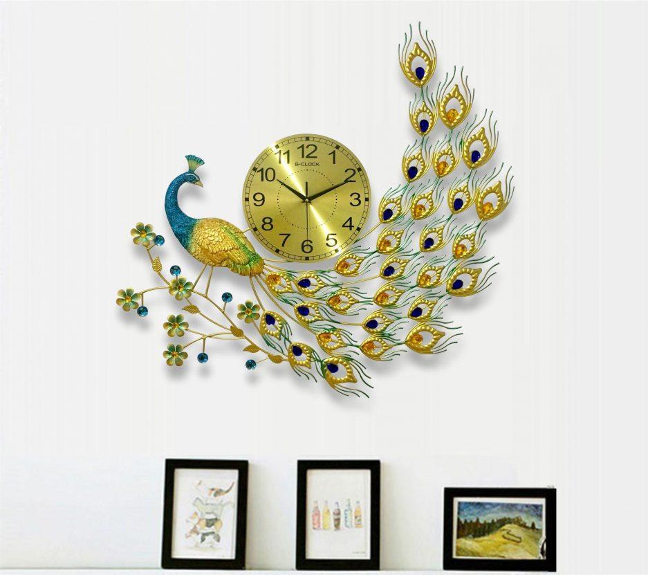 Đồng hồ treo tường con công trang trí nghệ thuật