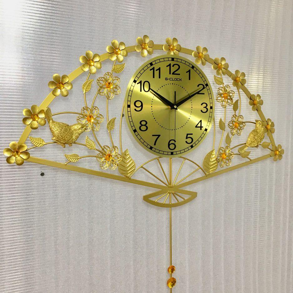 đồng hồ trang trí nghệ thuật hình quạt vàng hà nội