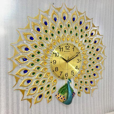 đồng hồ treo tường trang trí con công hà nội